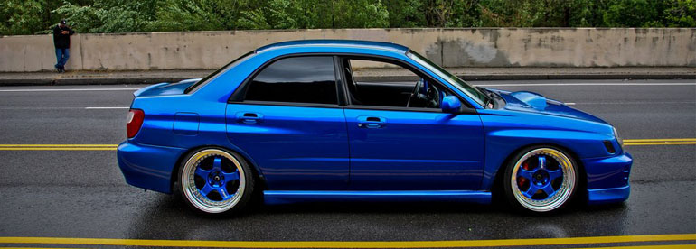 stanced wrx on coilovers